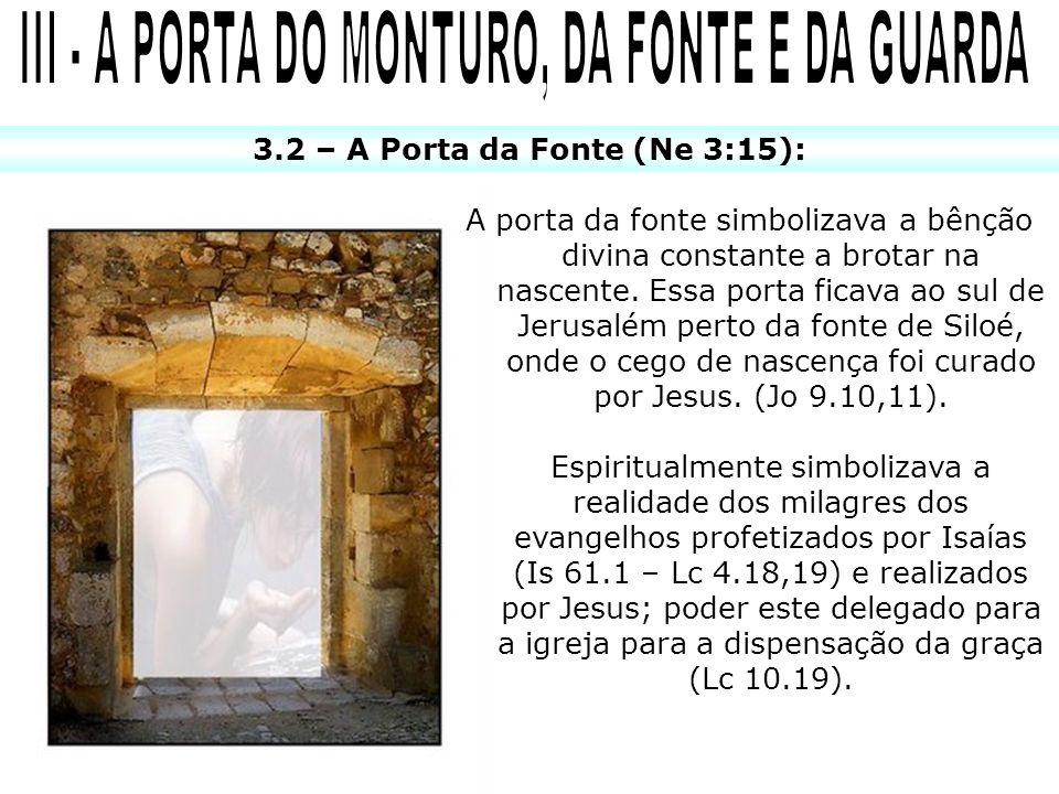 3.2 – A Porta da Fonte (Ne 3:15): A porta da fonte simbolizava a bênção divina constante a brotar na nascente.