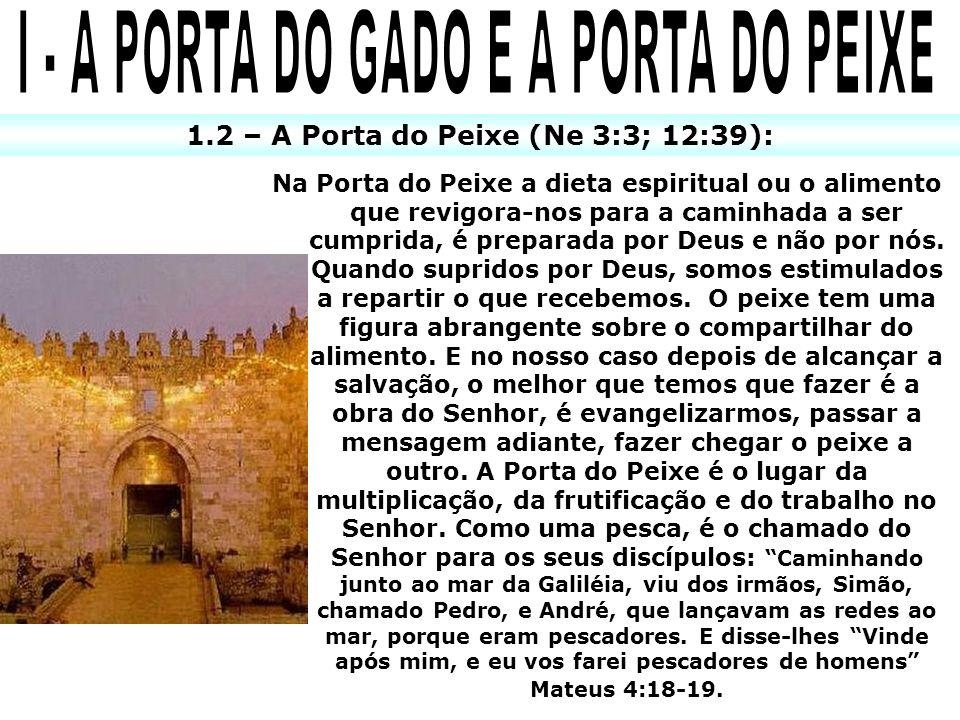 1.2 – A Porta do Peixe (Ne 3:3; 12:39): Na Porta do Peixe a dieta espiritual ou o alimento que revigora-nos para a caminhada a ser cumprida, é preparada por Deus e não por nós.
