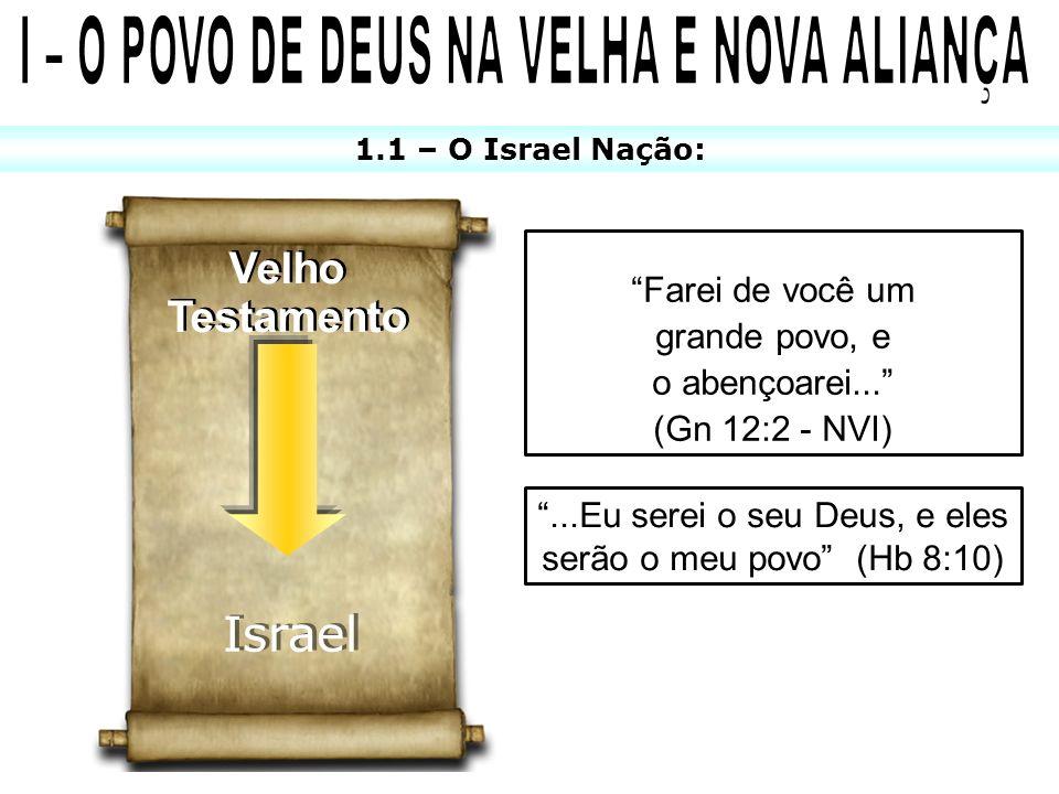 1.1 – O Israel Nação: Velho Testamento Velho Testamento Israel Farei de você um grande povo, e o abençoarei... (Gn 12:2 - NVI)...Eu serei o seu Deus,