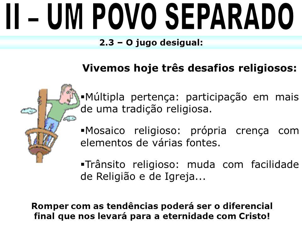 2.3 – O jugo desigual: Vivemos hoje três desafios religiosos: Múltipla pertença: participação em mais de uma tradição religiosa. Mosaico religioso: pr