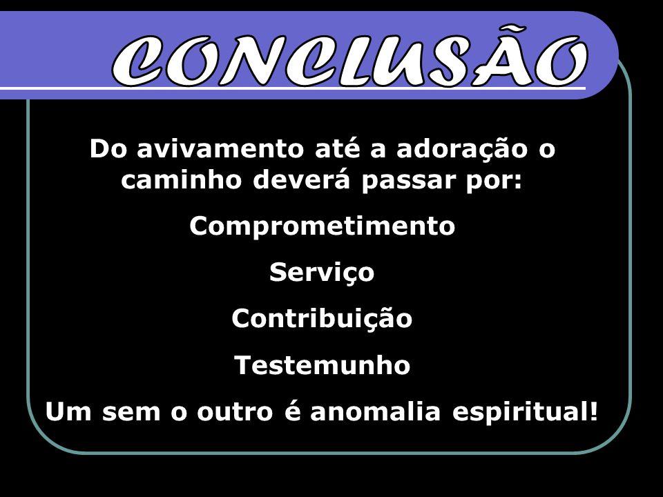 Do avivamento até a adoração o caminho deverá passar por: Comprometimento Serviço Contribuição Testemunho Um sem o outro é anomalia espiritual!