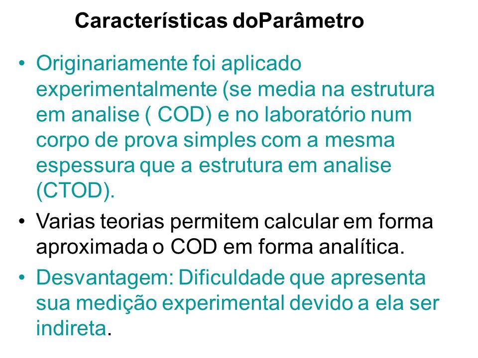 Características doParâmetro Originariamente foi aplicado experimentalmente (se media na estrutura em analise ( COD) e no laboratório num corpo de prova simples com a mesma espessura que a estrutura em analise (CTOD).