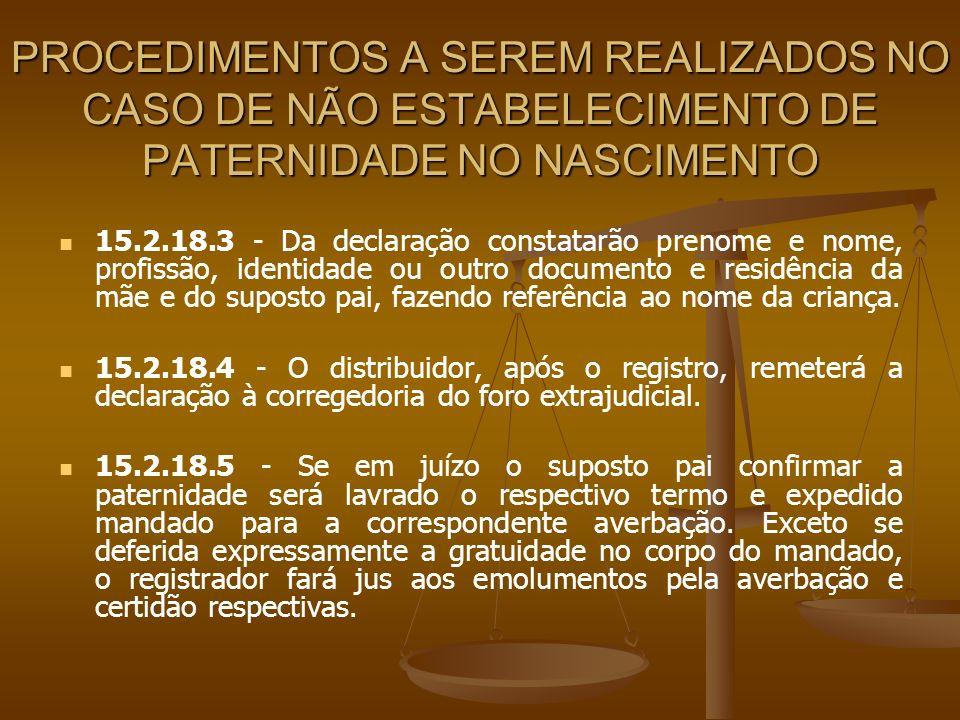 PROCEDIMENTOS A SEREM REALIZADOS NO CASO DE NÃO ESTABELECIMENTO DE PATERNIDADE NO NASCIMENTO 15.2.18.3 - Da declaração constatarão prenome e nome, pro