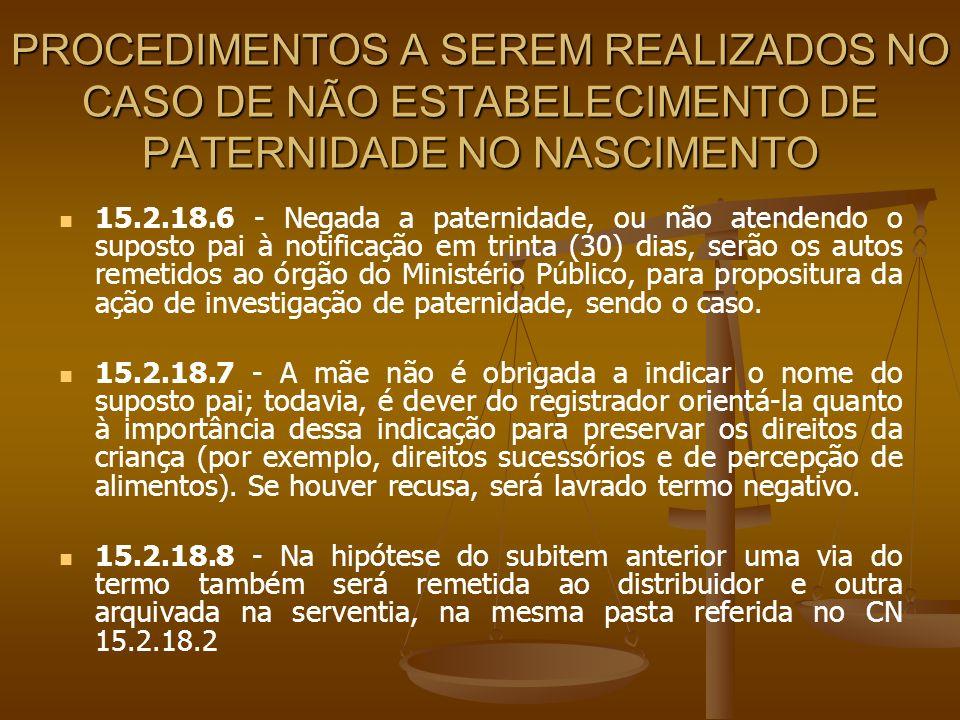 PROCEDIMENTOS A SEREM REALIZADOS NO CASO DE NÃO ESTABELECIMENTO DE PATERNIDADE NO NASCIMENTO 15.2.18.6 - Negada a paternidade, ou não atendendo o supo