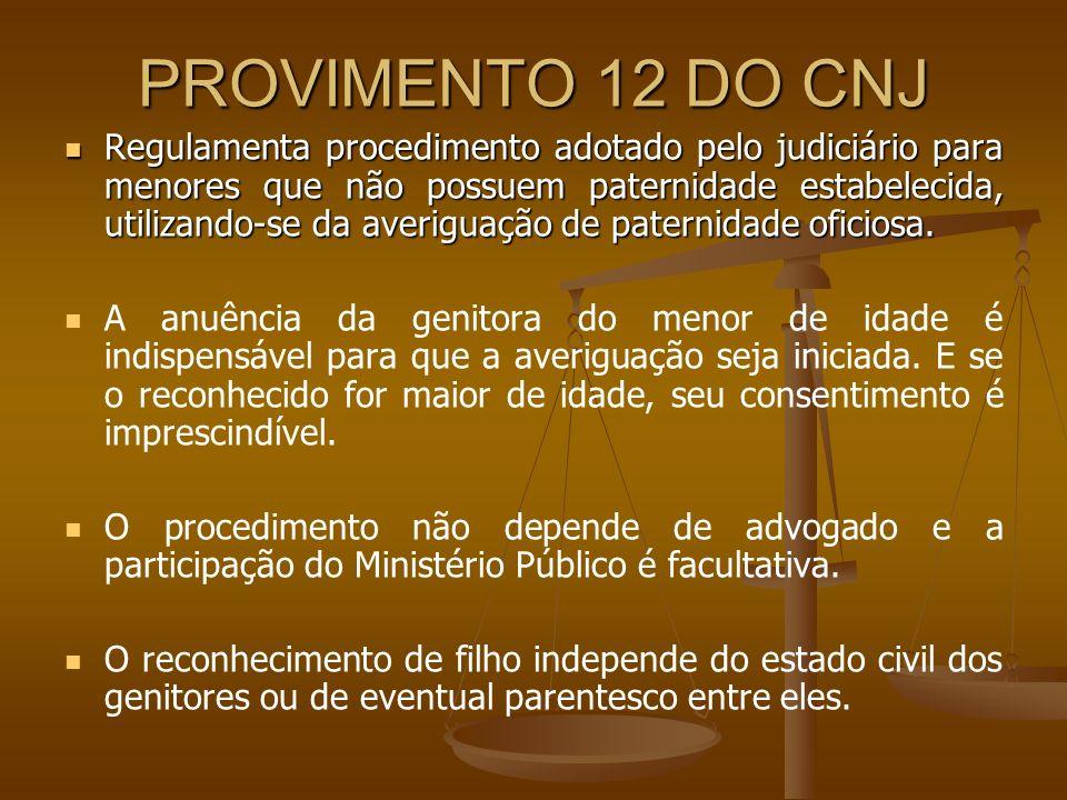 PROVIMENTO 12 DO CNJ Regulamenta procedimento adotado pelo judiciário para menores que não possuem paternidade estabelecida, utilizando-se da averigua