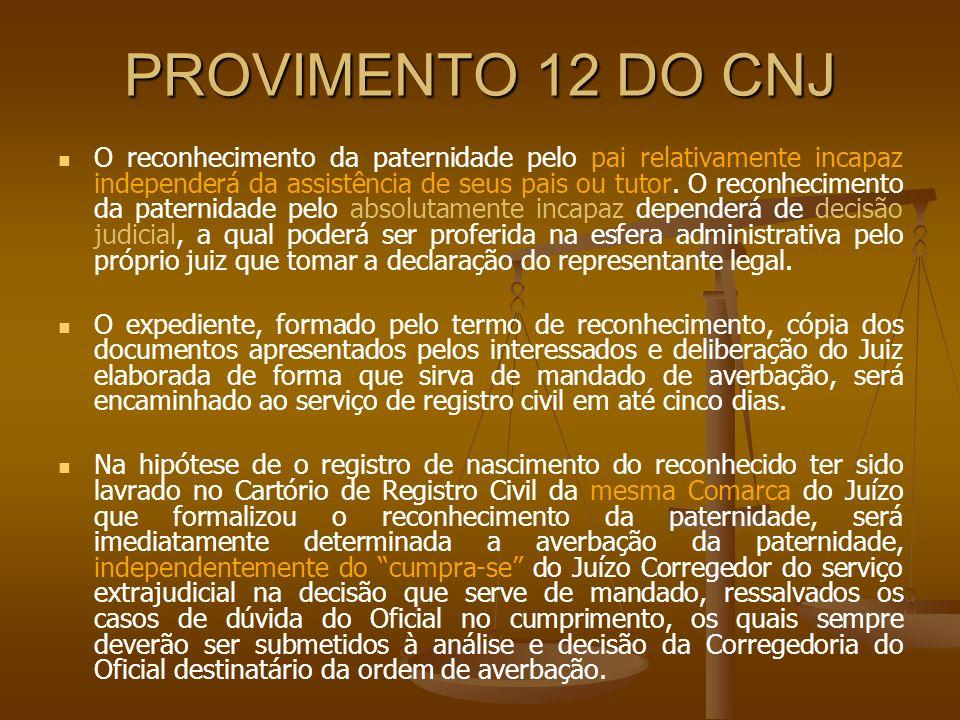 PROVIMENTO 12 DO CNJ O reconhecimento da paternidade pelo pai relativamente incapaz independerá da assistência de seus pais ou tutor. O reconhecimento