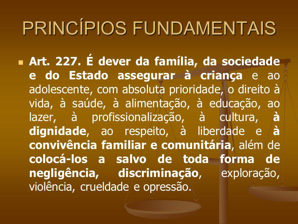 PRINCÍPIOS FUNDAMENTAIS Art. 227. É dever da família, da sociedade e do Estado assegurar à criança e ao adolescente, com absoluta prioridade, o direit