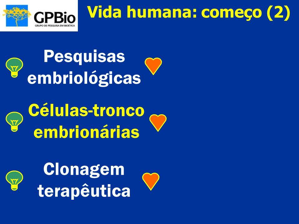 Pesquisas embriológicas ¤ Onde começa o ser humano pessoal.