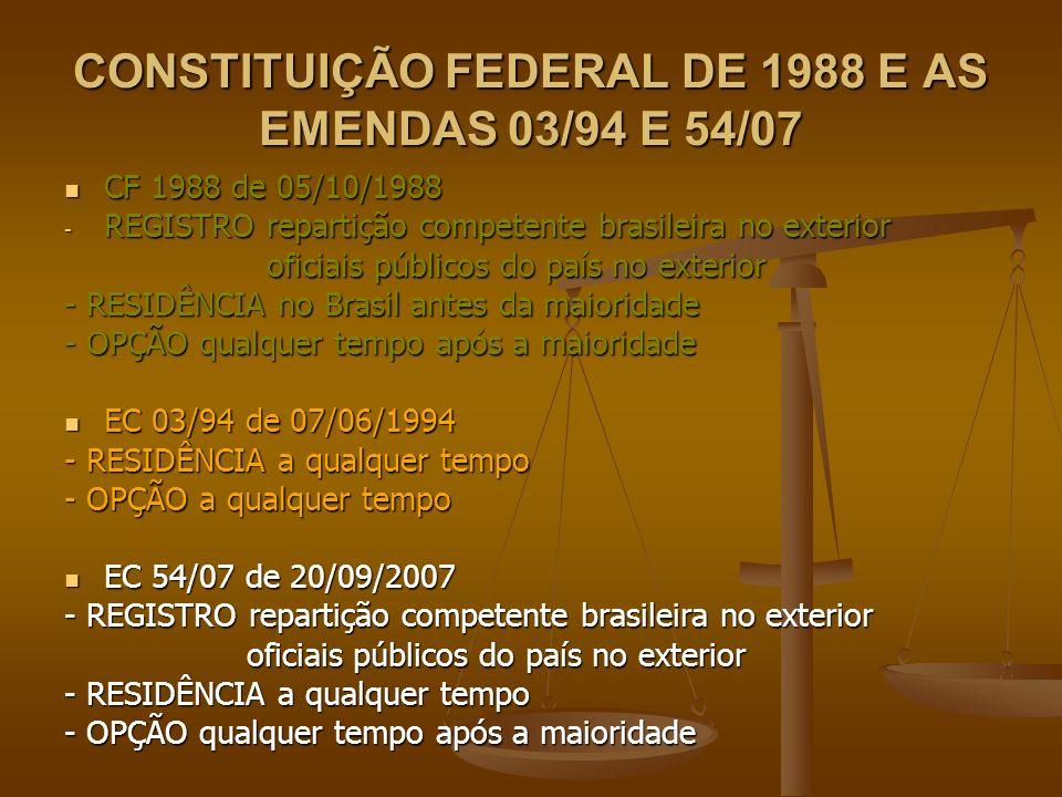 CONSTITUIÇÃO FEDERAL DE 1988 E AS EMENDAS 03/94 E 54/07 CF 1988 de 05/10/1988 CF 1988 de 05/10/1988 - REGISTRO repartição competente brasileira no ext