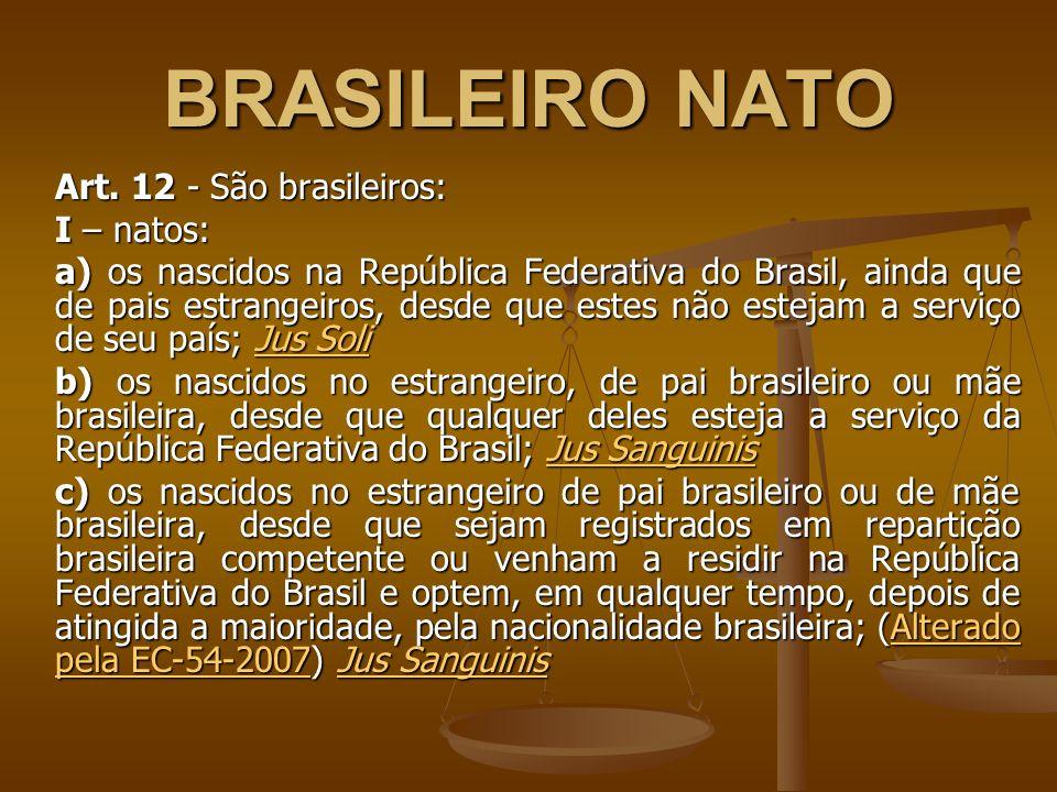 BRASILEIRO NATO Art. 12 - São brasileiros: I – natos: a) os nascidos na República Federativa do Brasil, ainda que de pais estrangeiros, desde que este