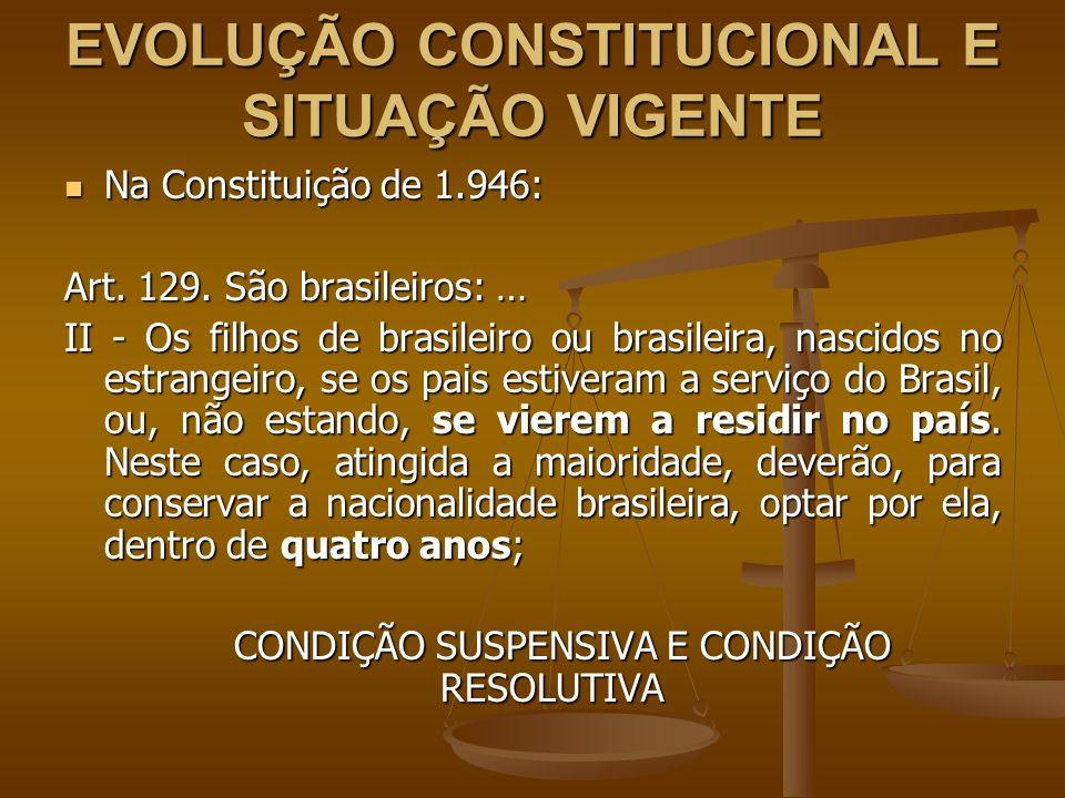 EVOLUÇÃO CONSTITUCIONAL E SITUAÇÃO VIGENTE Na Constituição de 1.946: Na Constituição de 1.946: Art. 129. São brasileiros: … II - Os filhos de brasilei