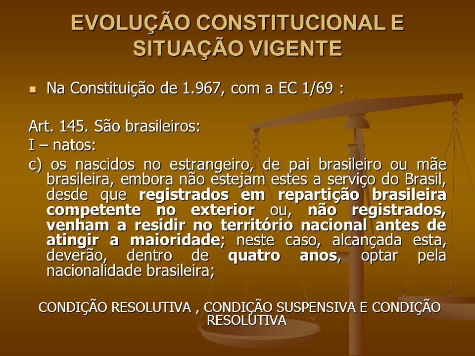 EVOLUÇÃO CONSTITUCIONAL E SITUAÇÃO VIGENTE Redação original do artigo 12, I, c , da Constituição Federal de 1.988: Redação original do artigo 12, I, c , da Constituição Federal de 1.988: Art.