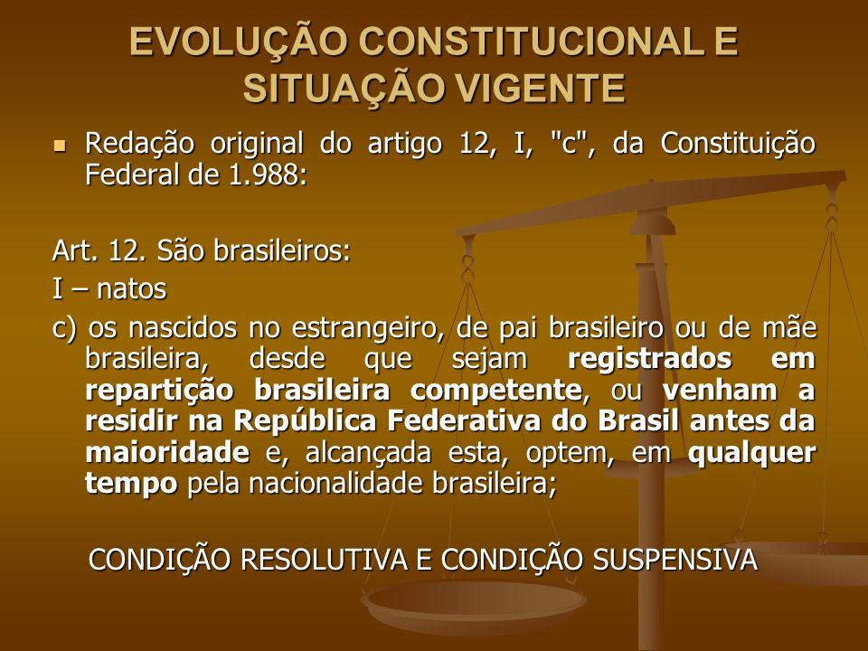 EVOLUÇÃO CONSTITUCIONAL E SITUAÇÃO VIGENTE Redação original do artigo 12, I,