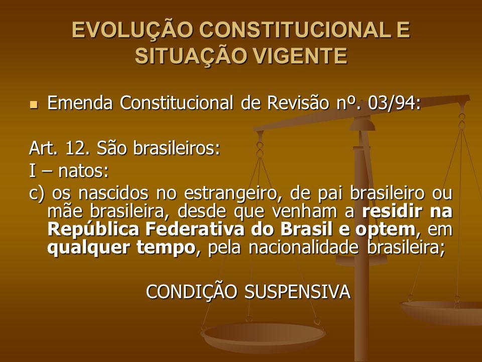 EVOLUÇÃO CONSTITUCIONAL E SITUAÇÃO VIGENTE Emenda Constitucional de Revisão nº. 03/94: Emenda Constitucional de Revisão nº. 03/94: Art. 12. São brasil