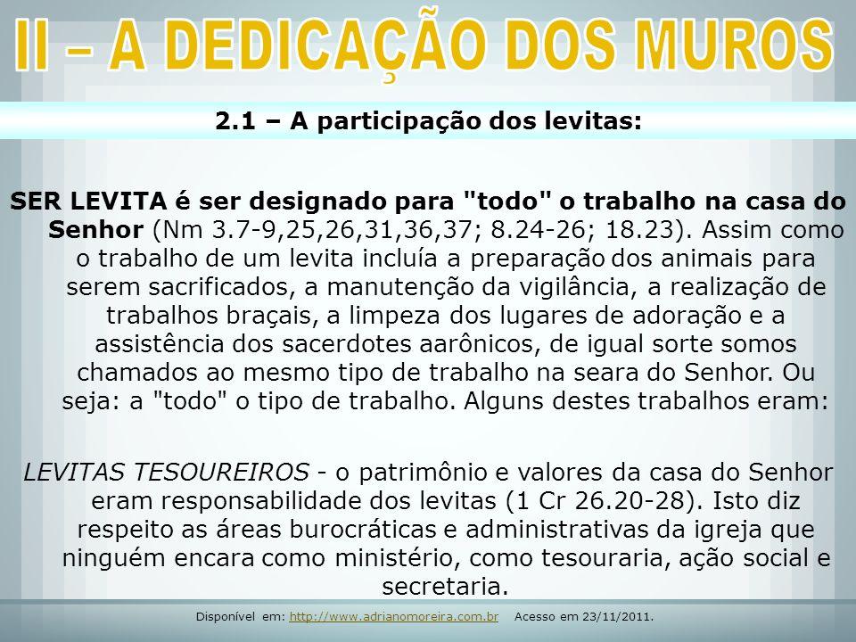 2.1 – A participação dos levitas: SER LEVITA é ser designado para