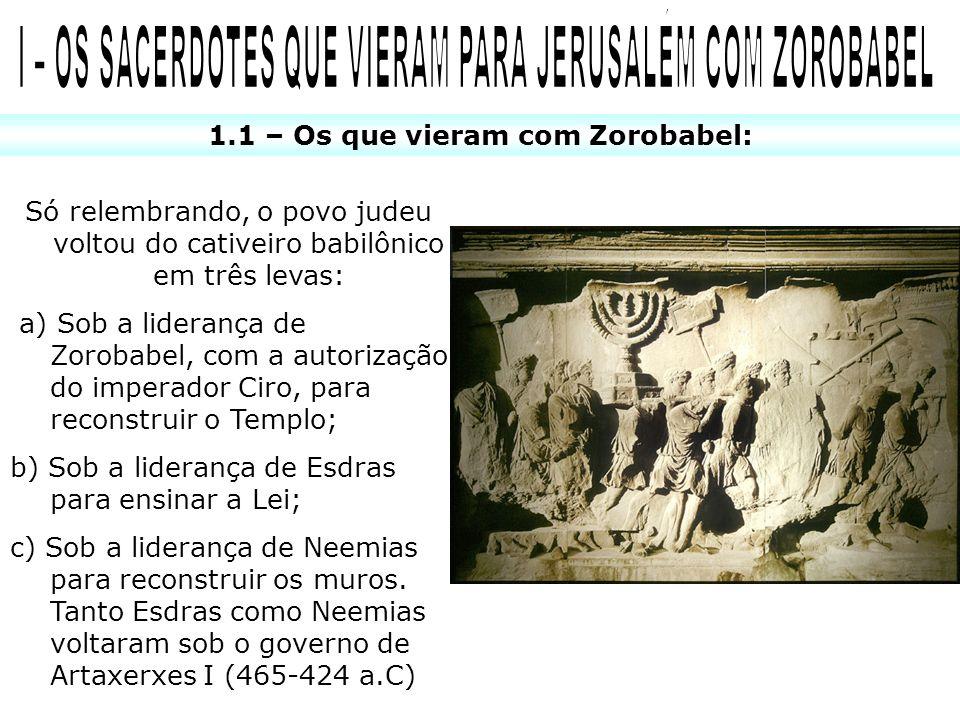 1.1 – Os que vieram com Zorobabel: Só relembrando, o povo judeu voltou do cativeiro babilônico em três levas: a) Sob a liderança de Zorobabel, com a a