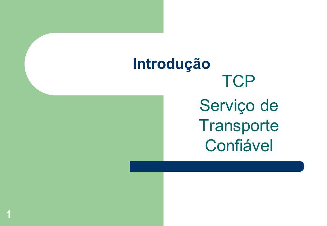 1 Introdução TCP Serviço de Transporte Confiável
