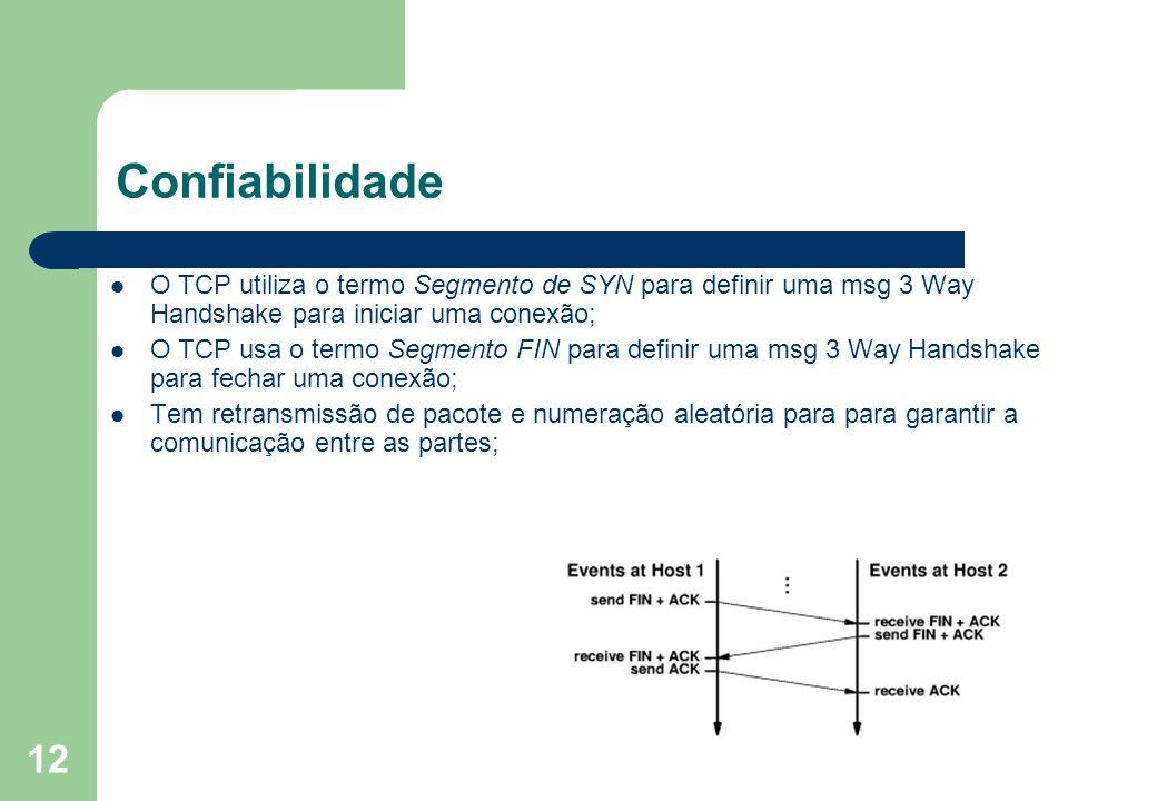 12 Confiabilidade O TCP utiliza o termo Segmento de SYN para definir uma msg 3 Way Handshake para iniciar uma conexão; O TCP usa o termo Segmento FIN
