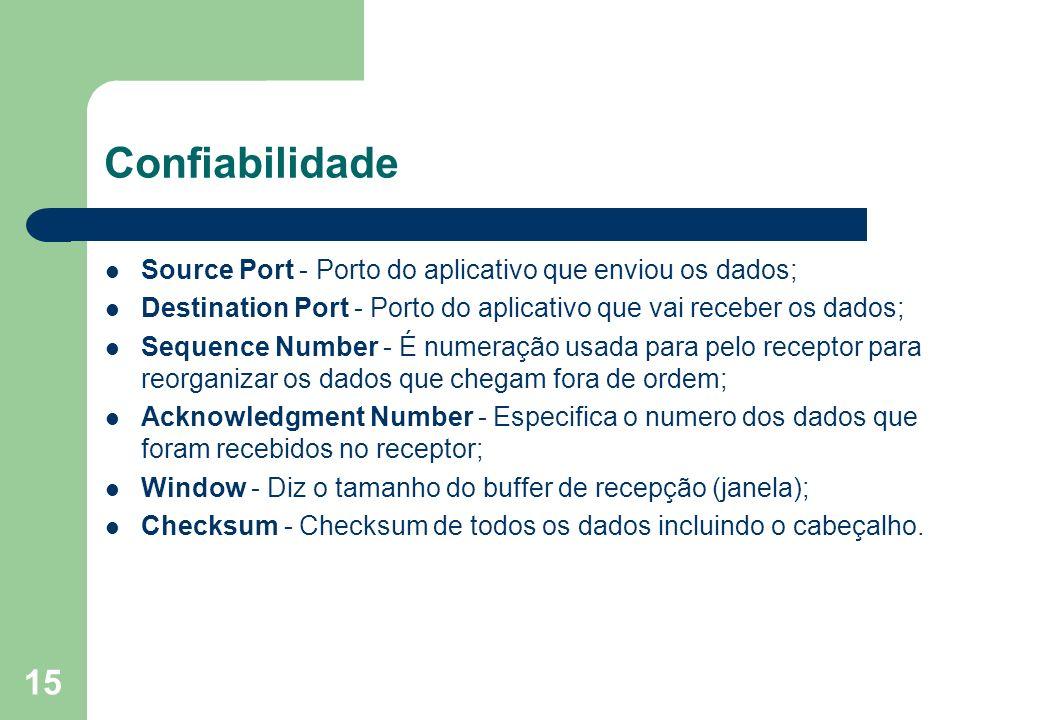 15 Confiabilidade Source Port - Porto do aplicativo que enviou os dados; Destination Port - Porto do aplicativo que vai receber os dados; Sequence Num