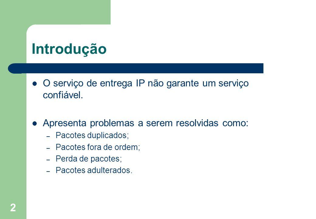 2 Introdução O serviço de entrega IP não garante um serviço confiável. Apresenta problemas a serem resolvidas como: – Pacotes duplicados; – Pacotes fo