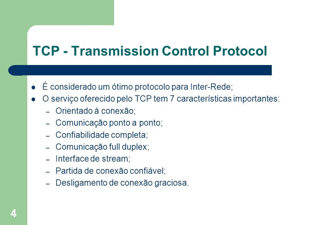 4 TCP - Transmission Control Protocol É considerado um ótimo protocolo para Inter-Rede; O serviço oferecido pelo TCP tem 7 características importantes