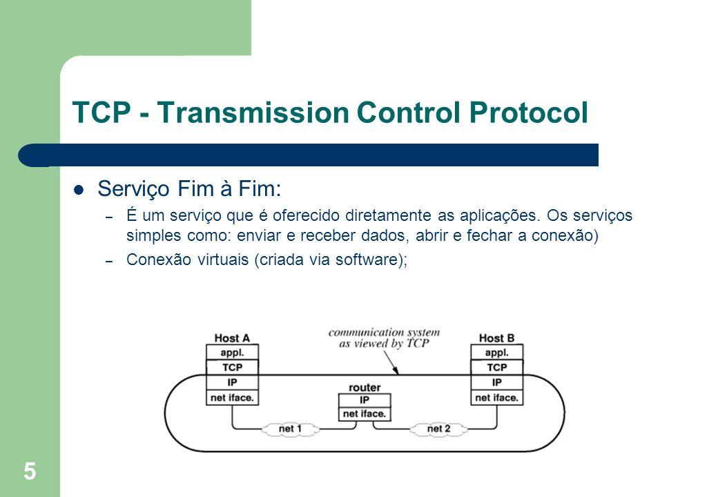 5 TCP - Transmission Control Protocol Serviço Fim à Fim: – É um serviço que é oferecido diretamente as aplicações. Os serviços simples como: enviar e