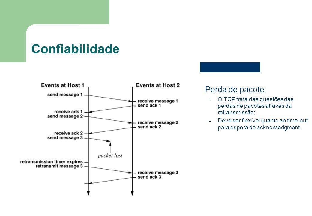 6 Confiabilidade Perda de pacote: – O TCP trata das questões das perdas de pacotes através da retransmissão; – Deve ser flexível quanto ao time-out pa