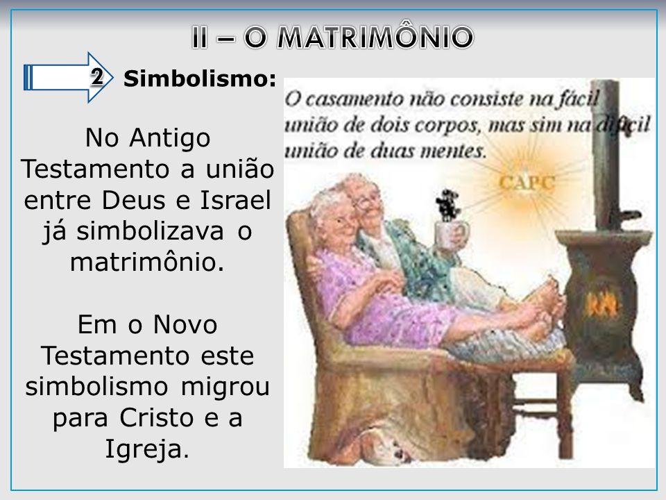 Simbolismo: No Antigo Testamento a união entre Deus e Israel já simbolizava o matrimônio. Em o Novo Testamento este simbolismo migrou para Cristo e a