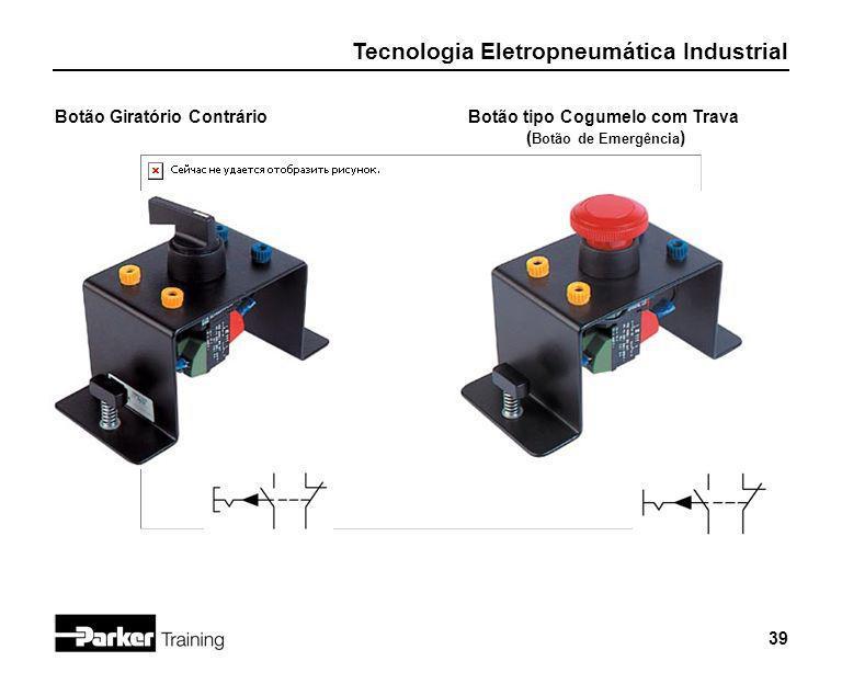 Tecnologia Eletropneumática Industrial 39 Botão Giratório ContrárioBotão tipo Cogumelo com Trava ( Botão de Emergência )