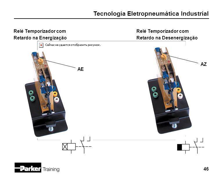 Tecnologia Eletropneumática Industrial 46 Relé Temporizador com Retardo na Energização Relé Temporizador com Retardo na Desenergização AE AZ
