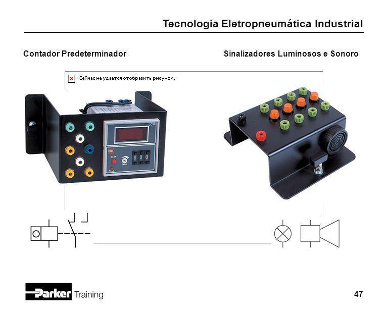 Tecnologia Eletropneumática Industrial 47 Contador PredeterminadorSinalizadores Luminosos e Sonoro