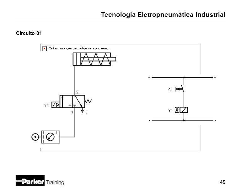 Tecnologia Eletropneumática Industrial 49 Circuito 01 Y1 2 13 + - + - S1 Y1