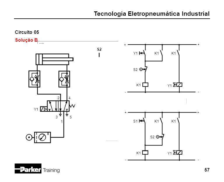 Tecnologia Eletropneumática Industrial 57 Circuito 05 Solução B 2 1 3 + - Y1K1 4 5 S2 Y1 S2 + - + - + - K1 Y1 S1K1 S2 K1 Y1