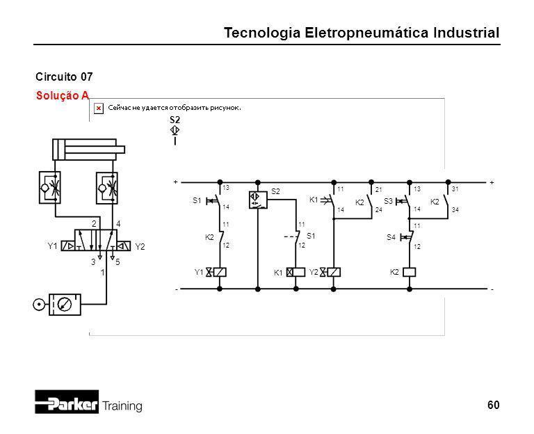 Tecnologia Eletropneumática Industrial 60 Circuito 07 Solução A 2 1 3 + - S1 4 5 Y1 S2 + - 13 14 Y2 K2 11 12 Y1 S2 S1 11 12 K1 Y2 K1 11 14 K2 21 24 S3