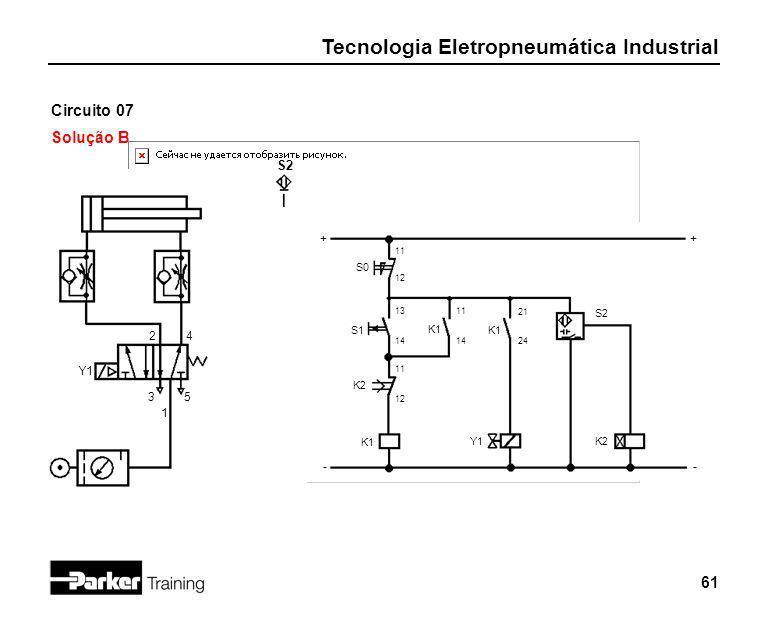 Tecnologia Eletropneumática Industrial 61 Circuito 07 Solução B 2 1 3 + - S0 4 5 Y1 S2 11 12 S1 13 14 K2 11 12 K1 11 14 K1 21 24 Y1 K2 S2 + -