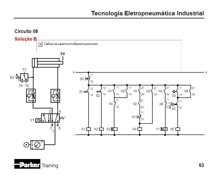 Tecnologia Eletropneumática Industrial 63 Circuito 08 Solução B 2 1 3 S0 4 5 Y1 S4 11 12 + - S3 11 1412 + - S1 13 14 K1 S2 13 14 K2 K1 11 14 K4 11 12