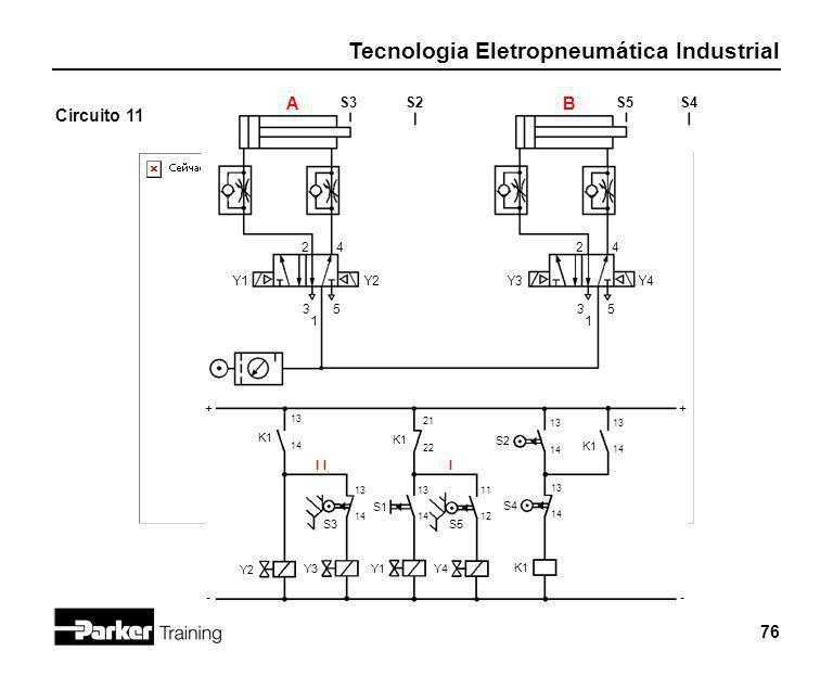 Tecnologia Eletropneumática Industrial 76 Circuito 11 2 1 3 4 5 Y1 S3 + - Y2 S2 A K1 13 14 Y2 2 1 3 4 5 Y3Y4 S5S4 B Y3 S3 I 13 14 K1 21 22 S1 13 14 Y1