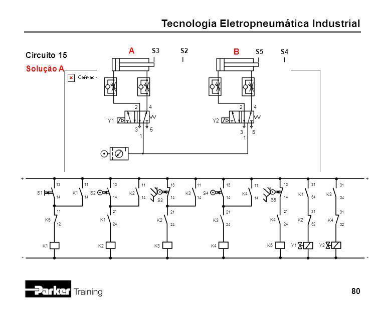 Tecnologia Eletropneumática Industrial 80 Circuito 15 Solução A 2 1 3 4 5 Y1 S3 + - S2 S1 13 14 A S5S4 B 2 1 3 4 5 Y2 K5 11 12 K1 11 14 S2 13 14 K1 21