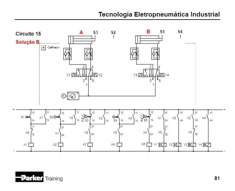 Tecnologia Eletropneumática Industrial 81 Circuito 15 Solução B 2 1 3 4 5 Y1 S3 + - S2 S1 13 14 A S5S4 B K5 11 12 K1 Y2 2 1 3 4 5 Y3Y4 K1 11 14 S2 13
