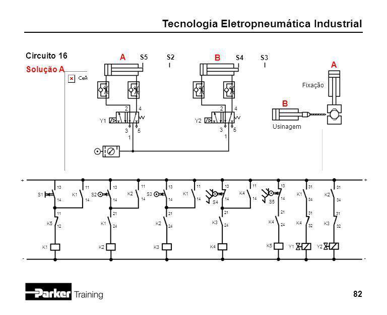 Tecnologia Eletropneumática Industrial 82 Circuito 16 Solução A 2 1 3 4 5 Y1 S5 + - S2 S1 13 14 A S4S3 B K5 11 12 K1 2 1 3 4 5 Y2 A B Fixação Usinagem