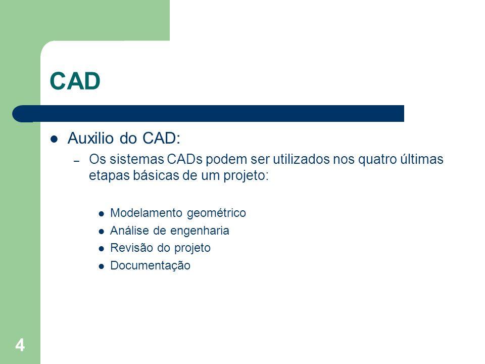 4 CAD Auxilio do CAD: – Os sistemas CADs podem ser utilizados nos quatro últimas etapas básicas de um projeto: Modelamento geométrico Análise de engenharia Revisão do projeto Documentação