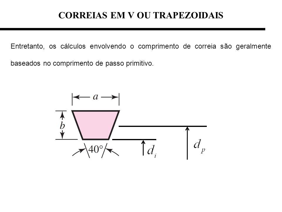 CORREIAS EM V OU TRAPEZOIDAIS Entretanto, os cálculos envolvendo o comprimento de correia são geralmente baseados no comprimento de passo primitivo.