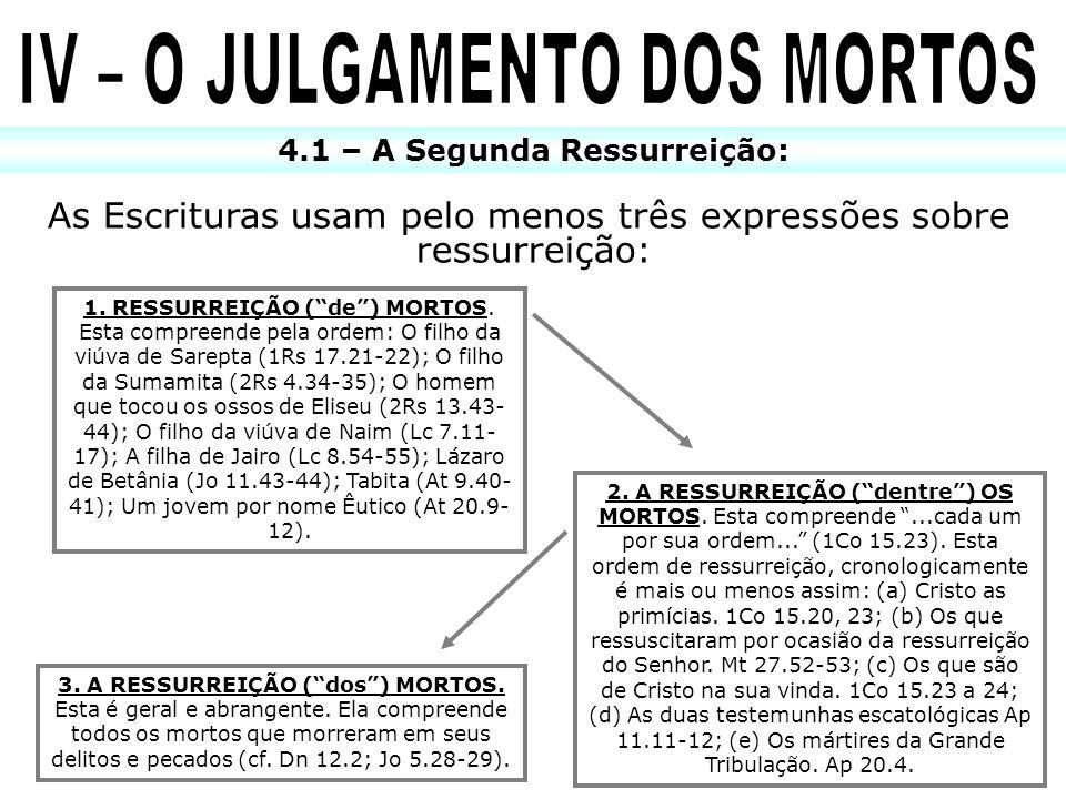 4.1 – A Segunda Ressurreição: As Escrituras usam pelo menos três expressões sobre ressurreição: 1. RESSURREIÇÃO (de) MORTOS. Esta compreende pela orde