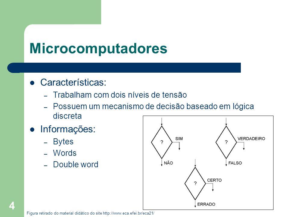 4 Microcomputadores Características: – Trabalham com dois níveis de tensão – Possuem um mecanismo de decisão baseado em lógica discreta Informações: –