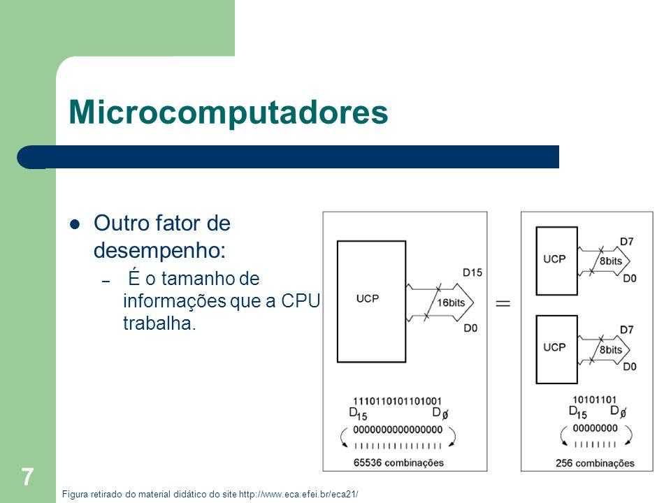 7 Microcomputadores Outro fator de desempenho: – É o tamanho de informações que a CPU trabalha. Figura retirado do material didático do site http://ww