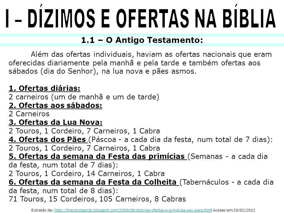 1.1 – O Antigo Testamento: Além das ofertas individuais, haviam as ofertas nacionais que eram oferecidas diariamente pela manhã e pela tarde e também