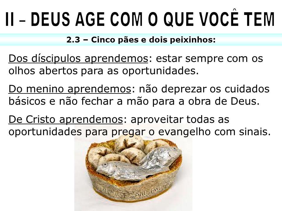 2.3 – Cinco pães e dois peixinhos: Dos díscipulos aprendemos: estar sempre com os olhos abertos para as oportunidades. Do menino aprendemos: não depre