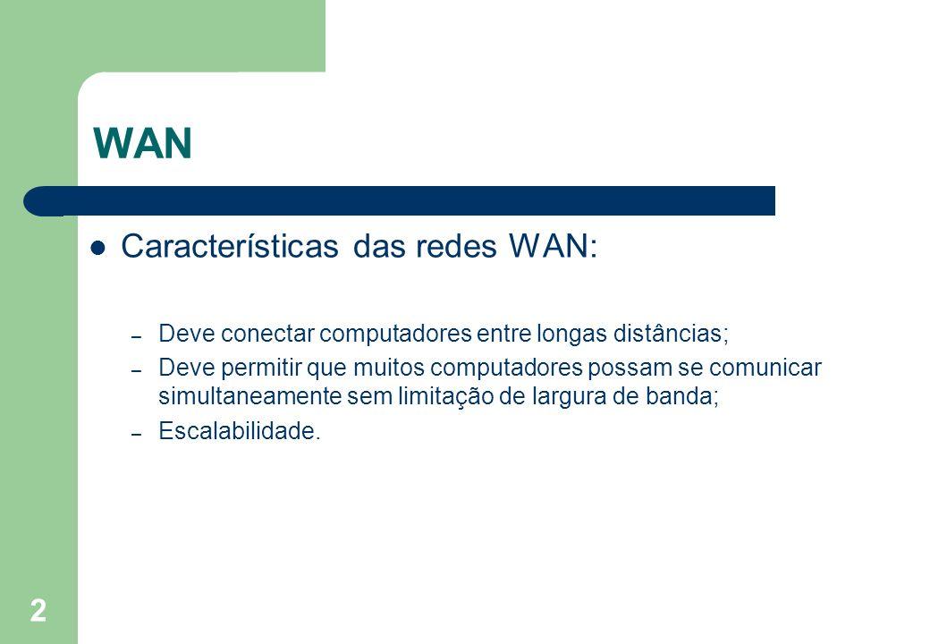 2 WAN Características das redes WAN: – Deve conectar computadores entre longas distâncias; – Deve permitir que muitos computadores possam se comunicar