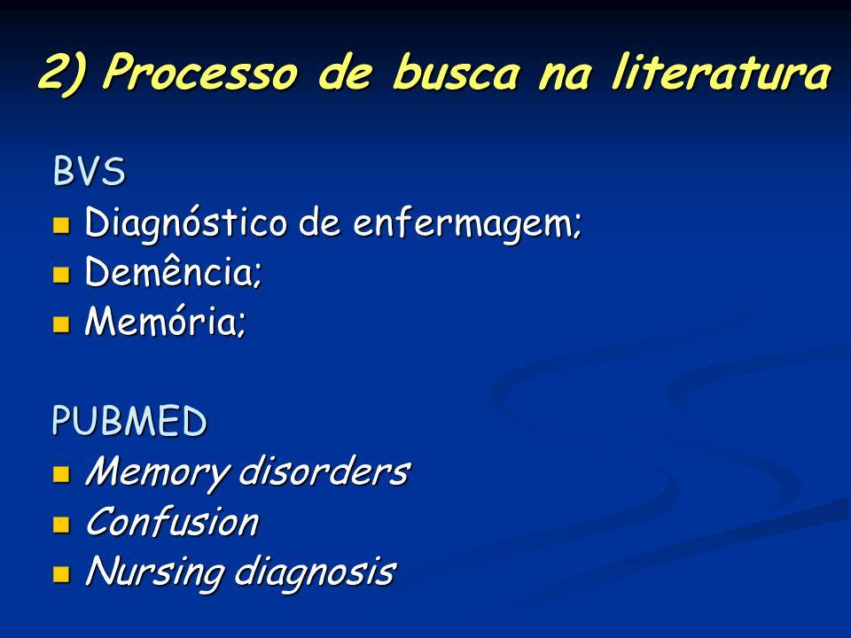 2) Processo de busca na literatura BVS Diagnóstico de enfermagem; Diagnóstico de enfermagem; Demência; Demência; Memória; Memória;PUBMED Memory disord