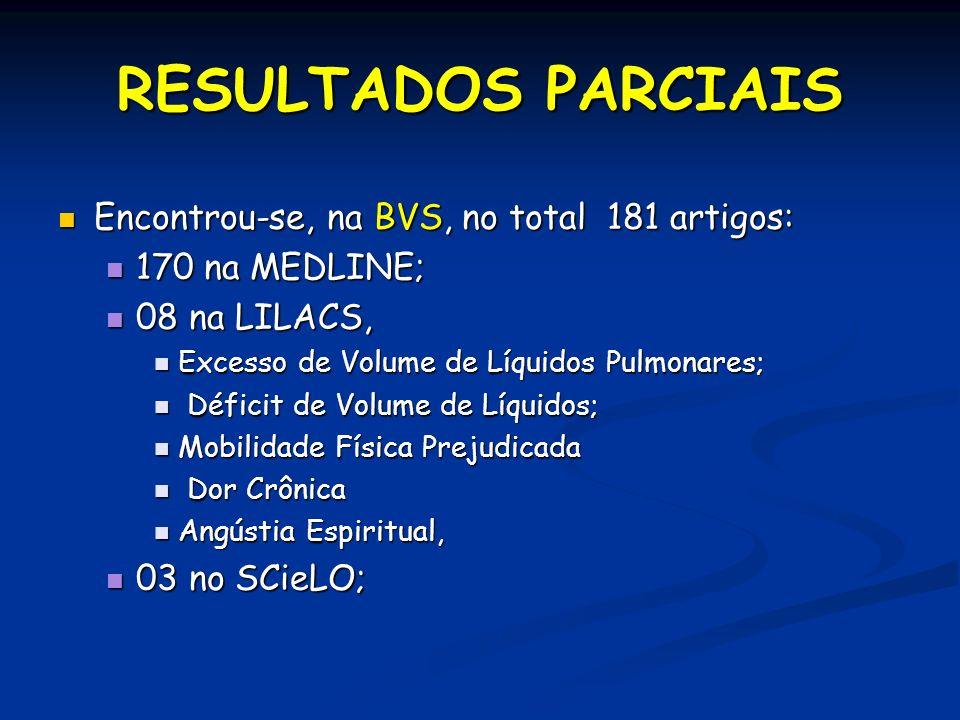 RESULTADOS PARCIAIS Encontrou-se, na BVS, no total 181 artigos: Encontrou-se, na BVS, no total 181 artigos: 170 na MEDLINE; 170 na MEDLINE; 08 na LILA